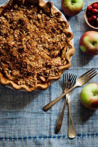 apple pie on a blue napkin