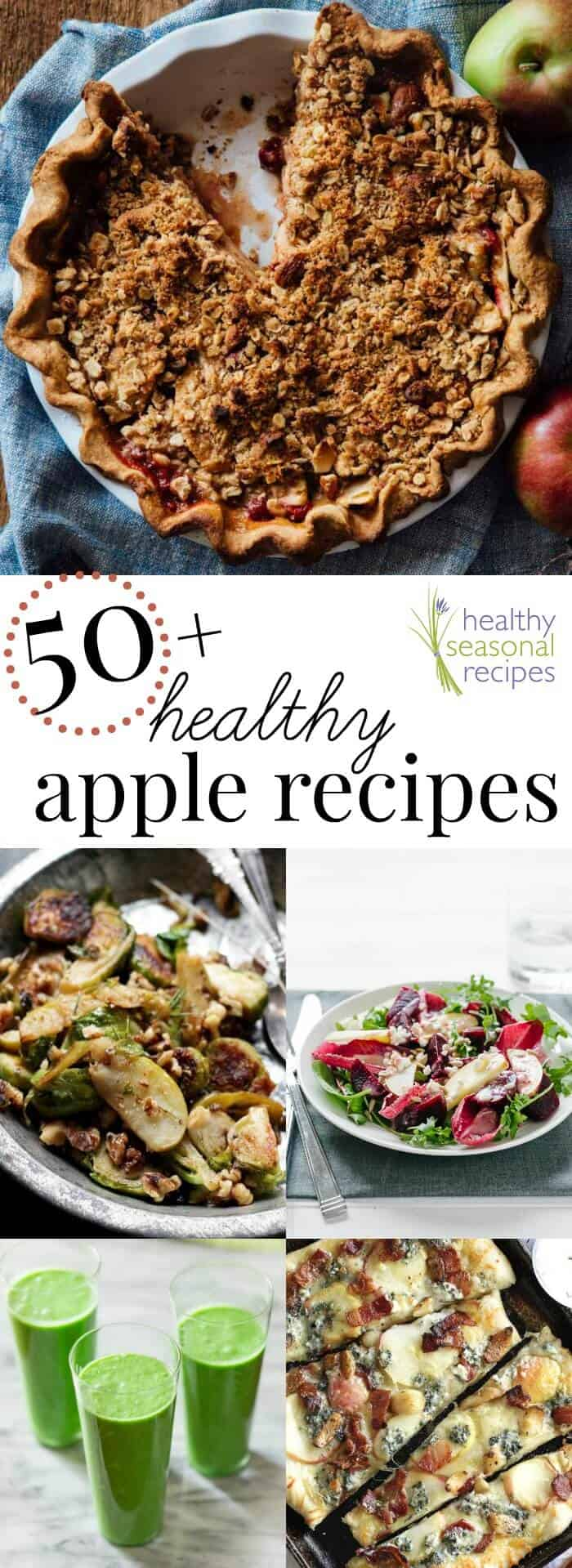 Apple recipes and pie photo collage with text overlay