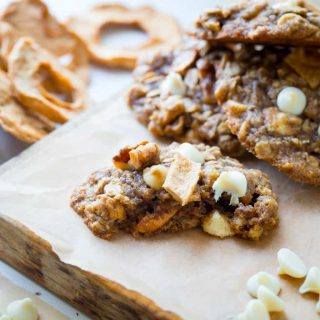 Chewy Oatmeal cookies, with white chocolate chips, walnuts and chunks of dried apple rings added in for a fall twist! | Healthy Seasonal Recipes | Katie Webster