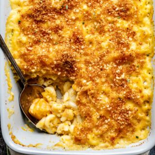 close up of mac and cheese with butternut squash in it