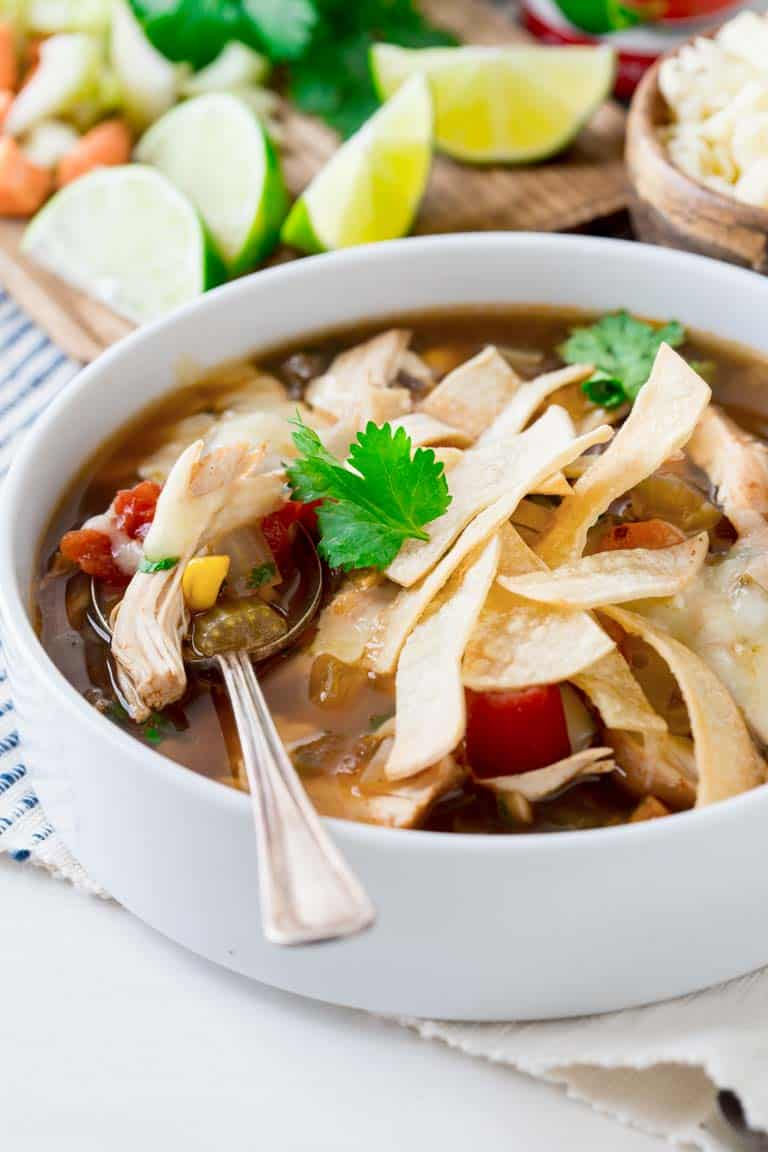 This simple healthy Slow-cooker Chicken Tortilla Soup is a delicious and budget friendly meal for the whole family during this busy weeknights. It's naturally gluten-free | Healthy Seasonal Recipes.