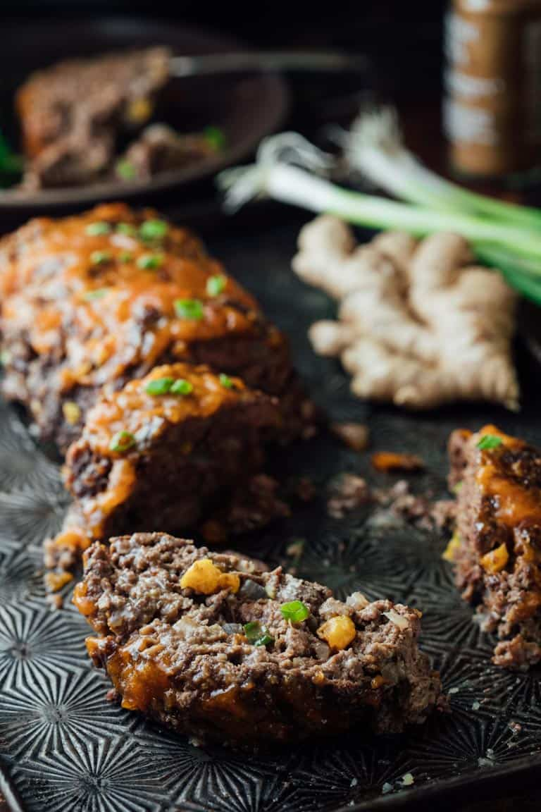 5 Spice Meatloaf with Apricot Ginger Glaze is a make over of an old classic that's a delicious kid friendly comfort food dinner! | Healthy Seasonal Recipes | Katie Webster