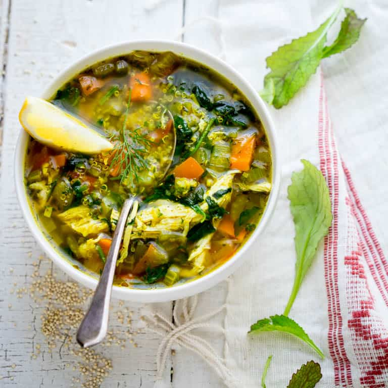 Lemon Turmeric Chicken Quinoa Soup with Mustard Greens