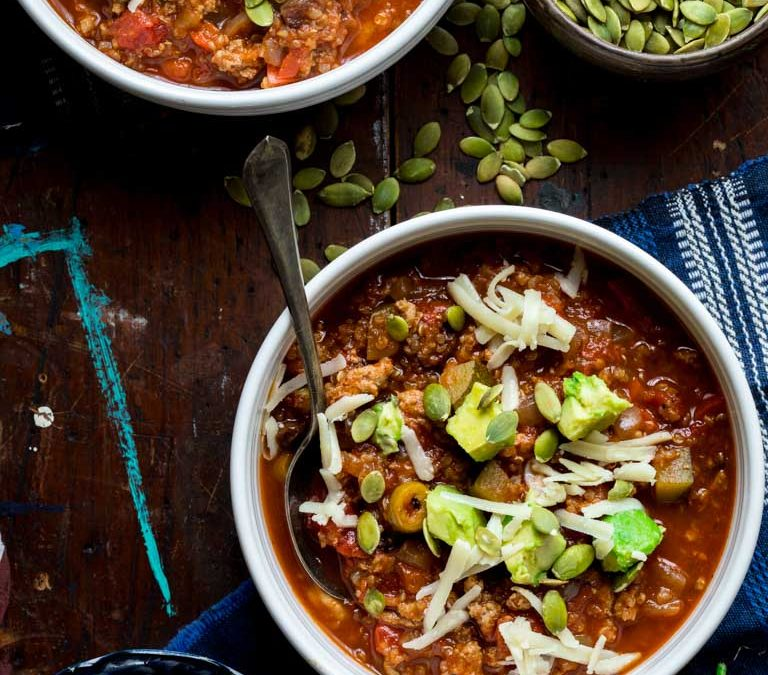 turkey picadillo chili with quinoa