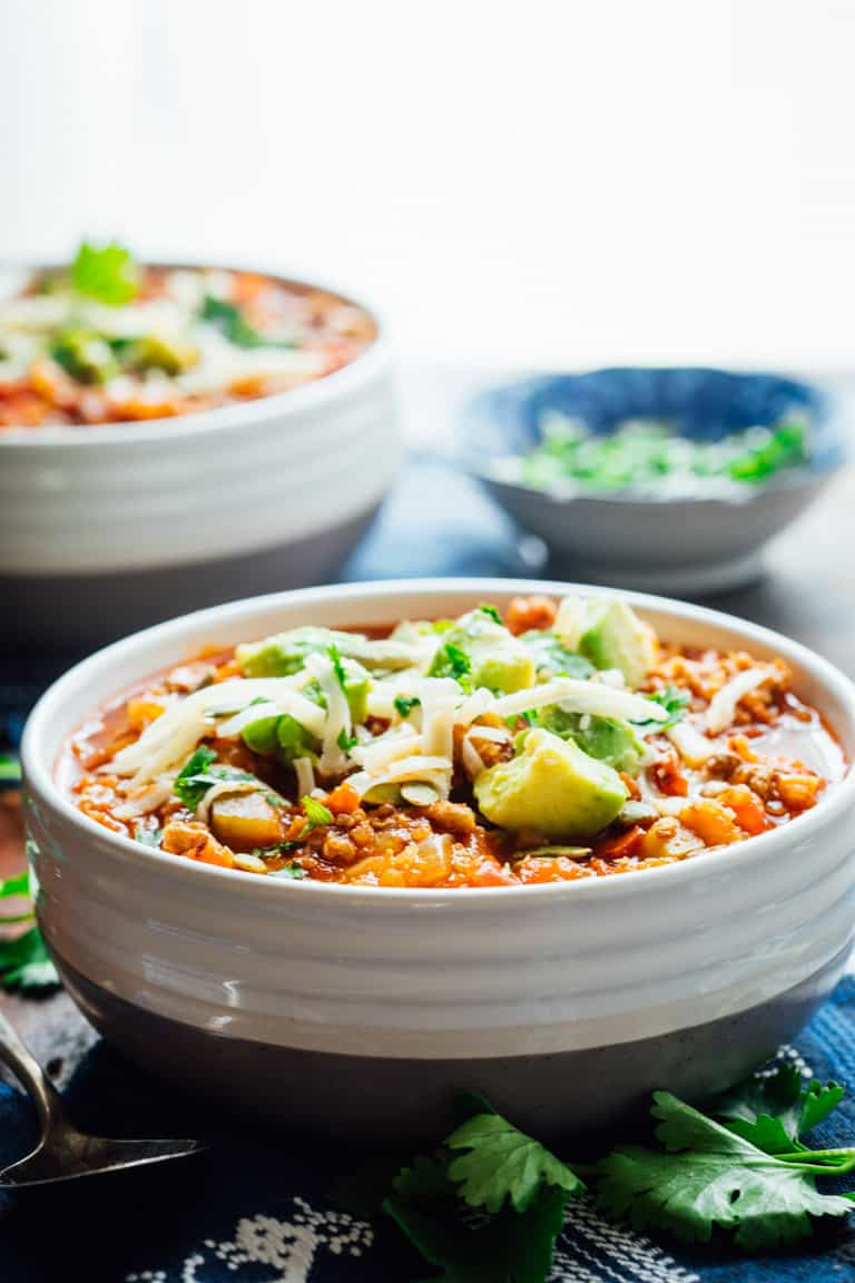 Savory Picadillo Turkey Chili with Quinoa. It has a little hit of cinnamon and raisins for an unexpected sweet additional flavor. Healthy Seasonal Recipes