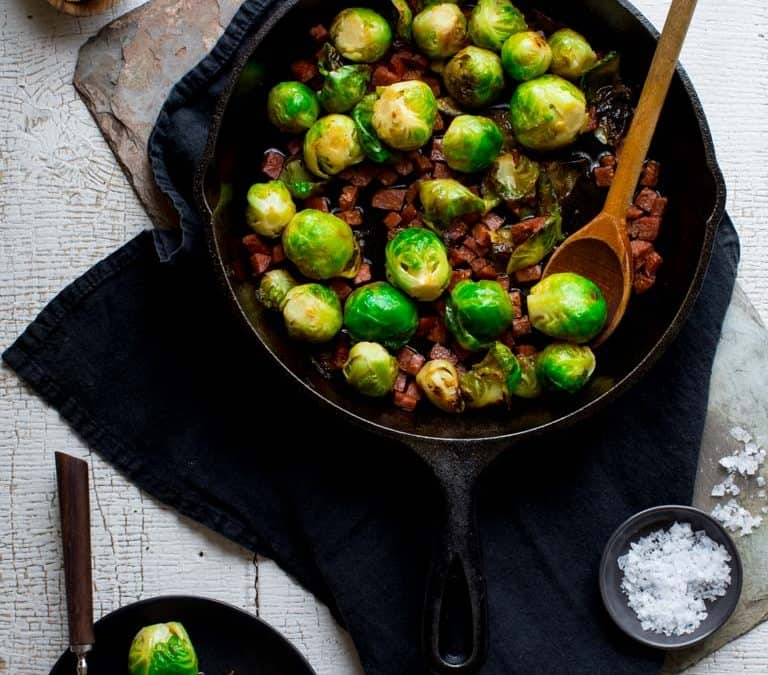 skillet brussels sprouts with chorizo