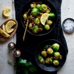 These Skillet Brussels Sprouts with Chorizo are an utterly delicious and totally Thanksgiving worthy side dish! Gluten-free and Paleo, too! | Healthy Seasonal Recipes | Katie Webster
