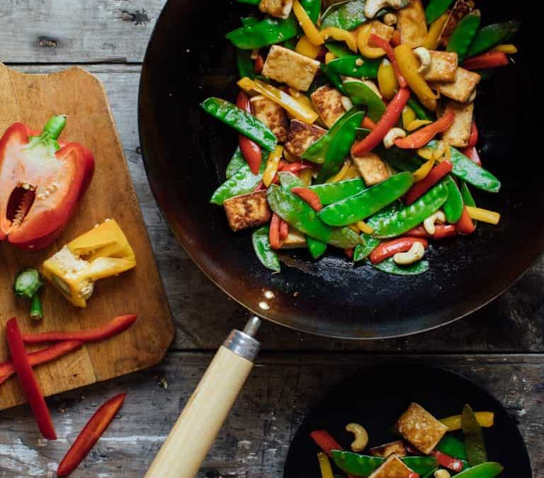 tofu and pepper stir-fry with cashews