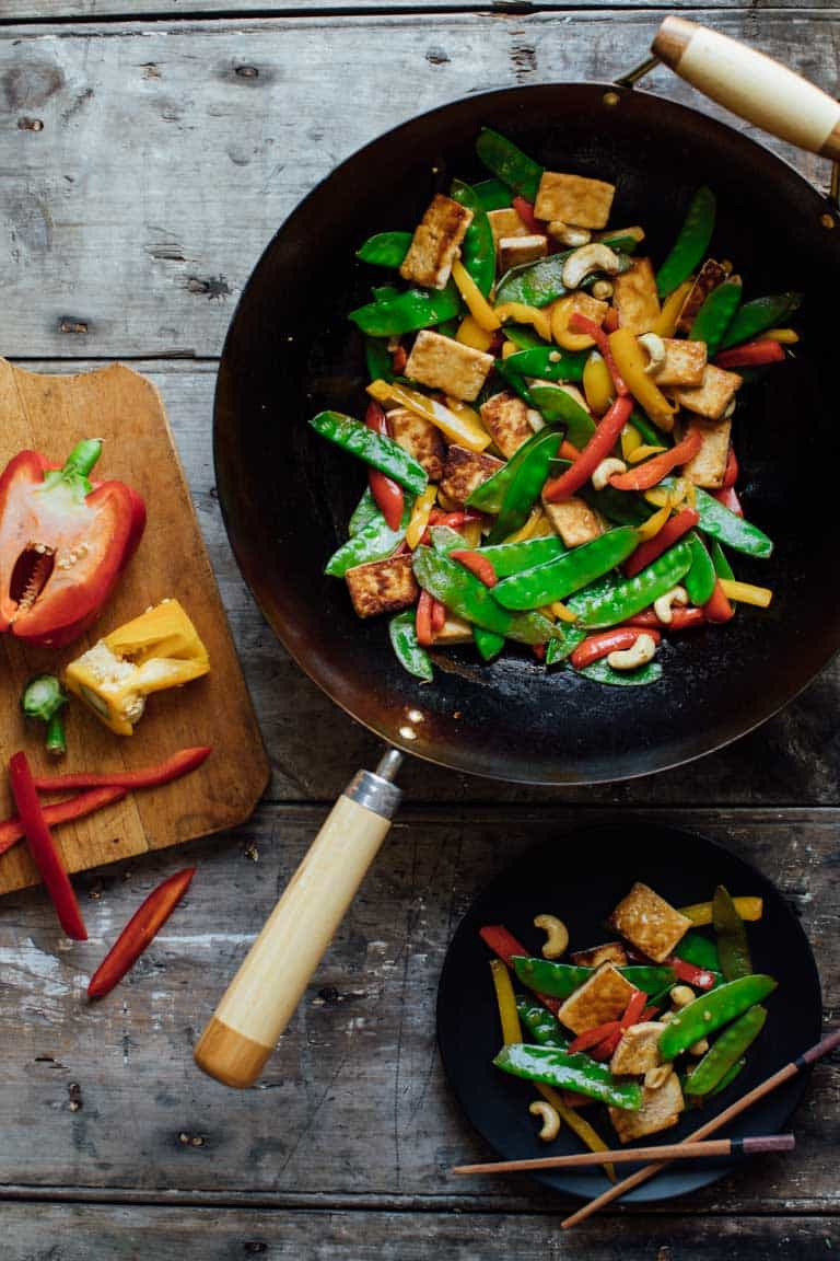 tofu veggie stir-fry with cashews