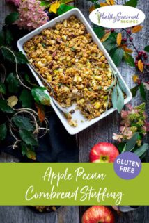 casserole dish of stuffing overhead with apples and hydrangeas