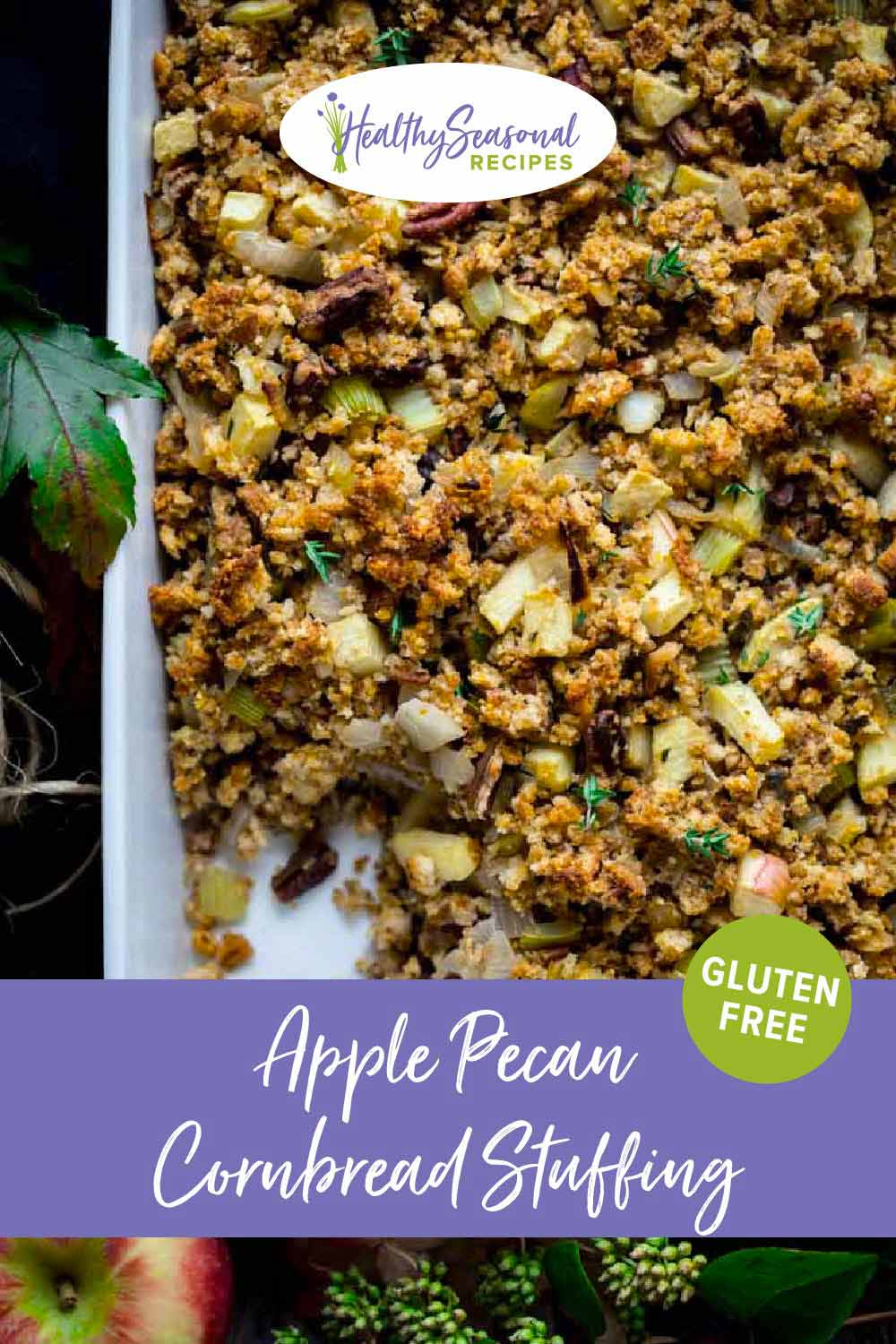Apple Cornbread Stuffing with Pecans {with a Gluten-Free Option}