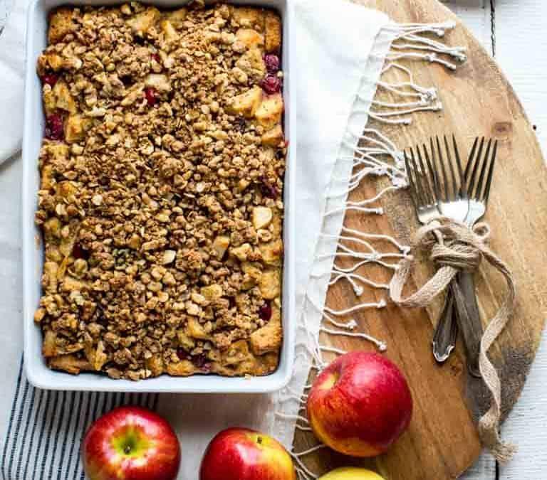 cranberry apple christmas breakfast casserole