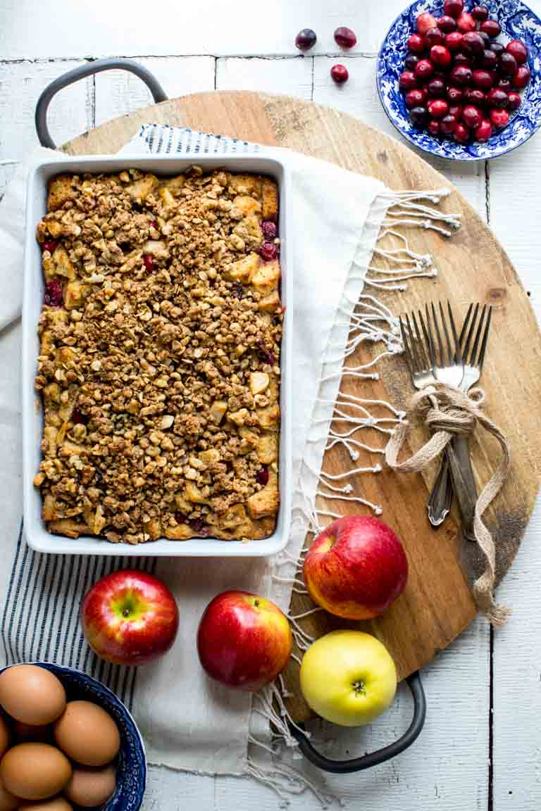Make-Ahead Overnight Apple Cranberry Christmas Breakfast Casserole on Healthy Seasonal Recipes