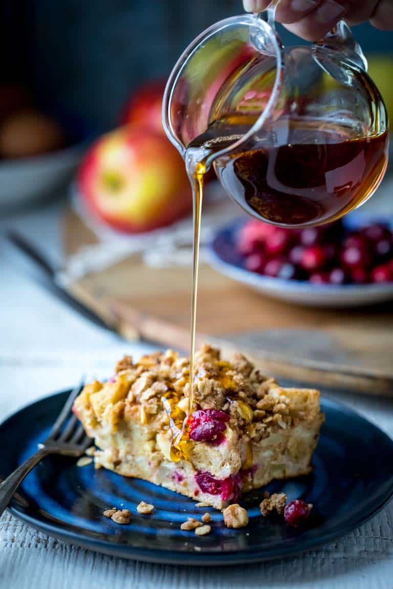 Make-Ahead Overnight Apple Cranberry Christmas Breakfast Casserole on Healthy Seasonal Recipes