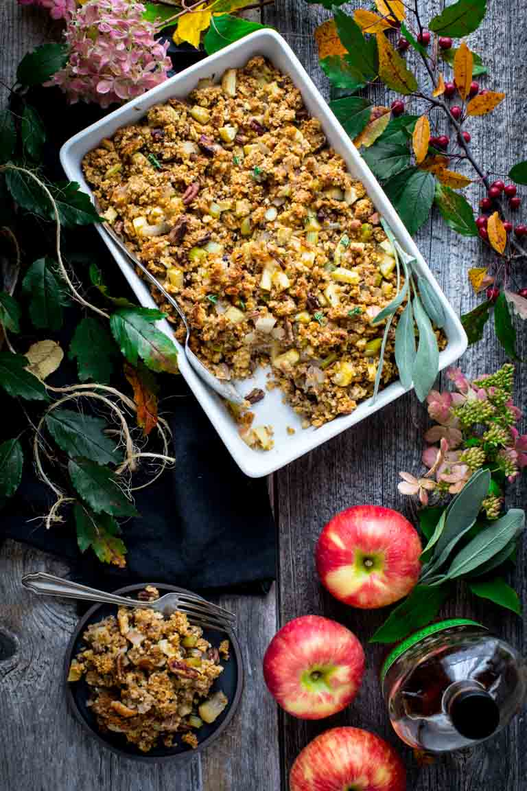 cornbread stuffing with apples and pecans {with a gluten-free option}