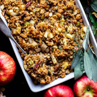 Thanksgiving Cornbread Stuffing with Apples and Pecans. With make-ahead instructions and a gluten-free option. Healthy Seasonal Recipes by @healthyseasonal