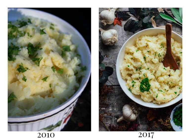 roasted garlic mashed potatoes. 7 years of blogging experience made my photos better