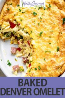 overhead denver baked omelet white dish