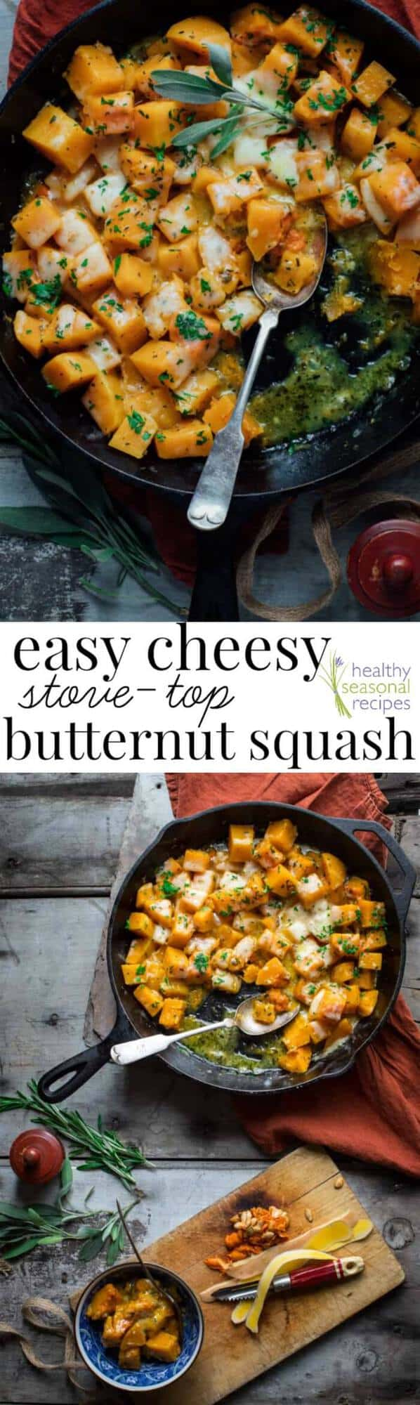A skillet with Stove and Butternut Squash with text