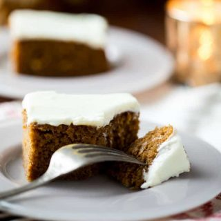 Healthier Gingerbread Sheet Cake with Cream Cheese Frosting for Christmas Dessert. Serves 18 people. Made with pure maple syrup instead of sugar, whole-grain flour, applesauce and lower fat cream cheese. Very moist and so good! | Healthy Seasonal Recipes