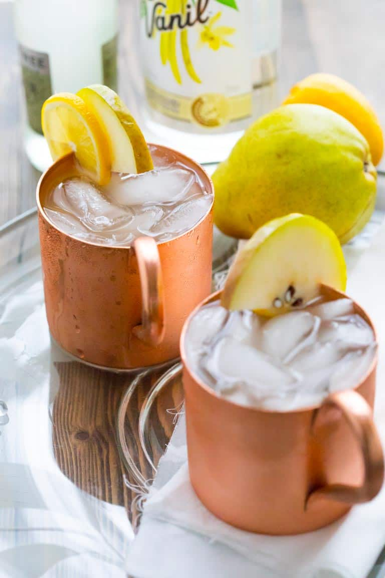 Vanilla Pear Moscow Mules are a fun and festive cocktail for the holidays. Healthy Seasonal Recipes