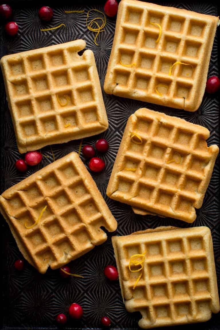 Crispy Almond Waffles made with almond oil, almond milk, almond flour on Healthy Seasonal Recipes