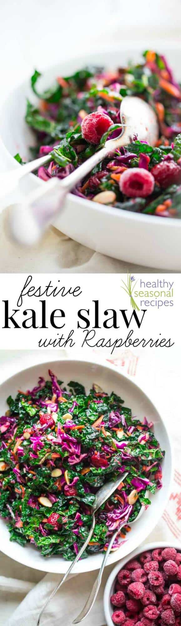 A bowl of salad, with Kale slaw with text