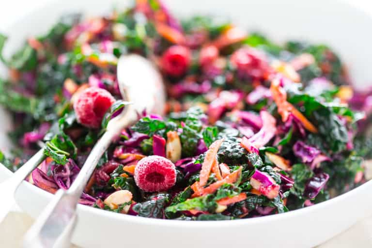 Festive Kale Slaw with Raspberries and Almonds for Christmas @healthyseasonal Healthy Seasonal Recipes #glutenfree #salad #christmas #kale