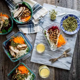 High-Protein Meal Prep Spinach Beet and Chicken Power Salads | Healthy Seasonal Recipes #mealprep #glutenfree #highprotein #lowcarb #paleo #whole30