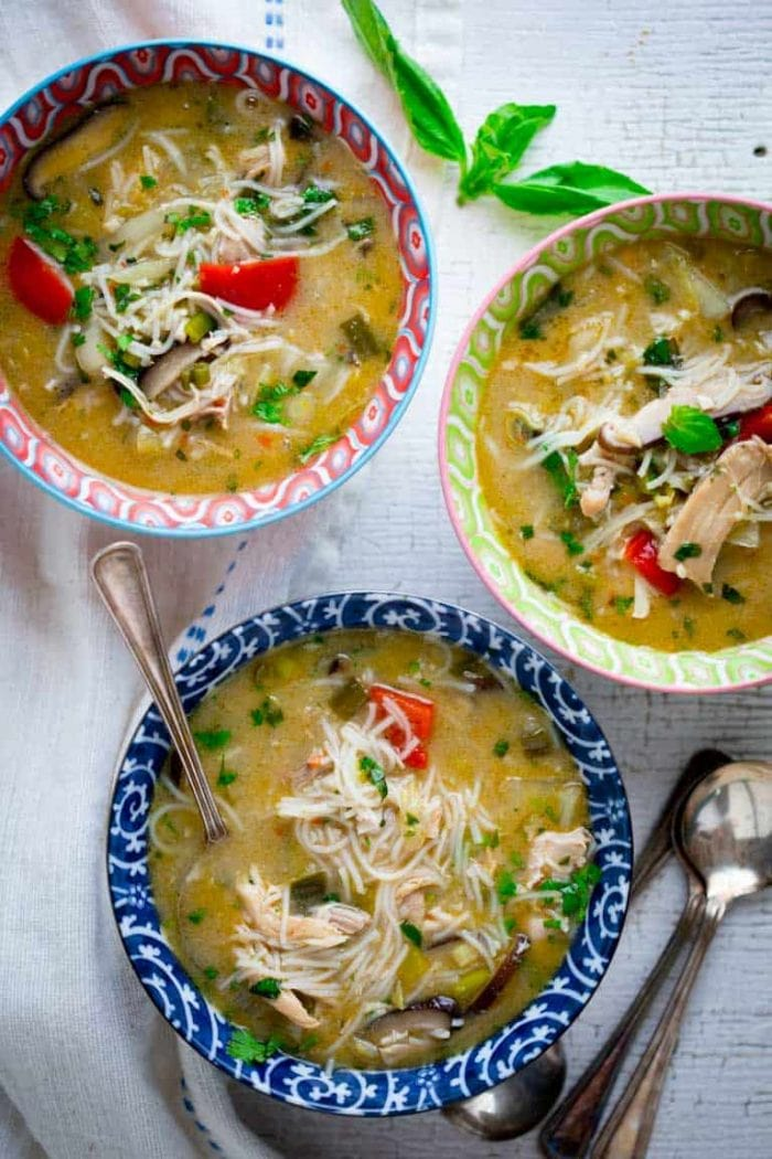 Slow Cooker Chicken Coconut Soup- based on Thai Tom Kha Gai. Made with ingredients you can find at a regular supermarket. Healthy Seasonal Recipes #slowcooker #thai #souprecipe