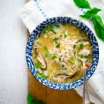 Slow Cooker Thai Coconut Chicken Soup with Red Peppers, Napa Cabbage and Cellophane Noodles, a healthy weeknight dinner on HealthySeasonalRecipes.com