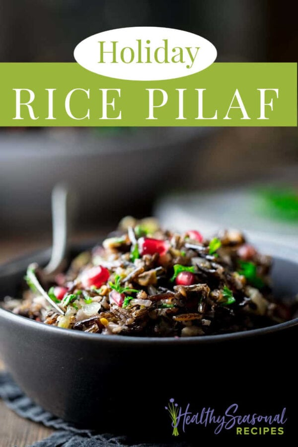 Close up bowl of wild rice pilaf