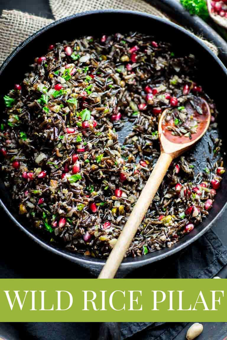 wild rice pilaf with pistachios and pomegranates