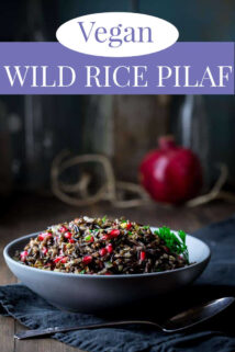 bowl of wild rice pilaf with pomegranates