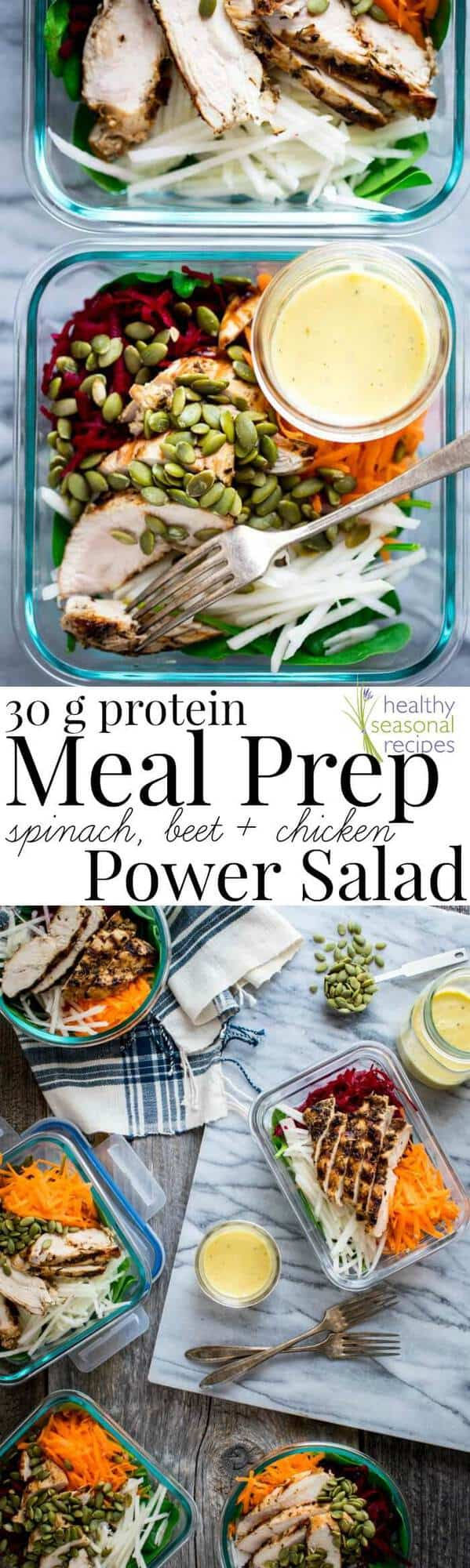 meal prep salads in glass storage containers with text