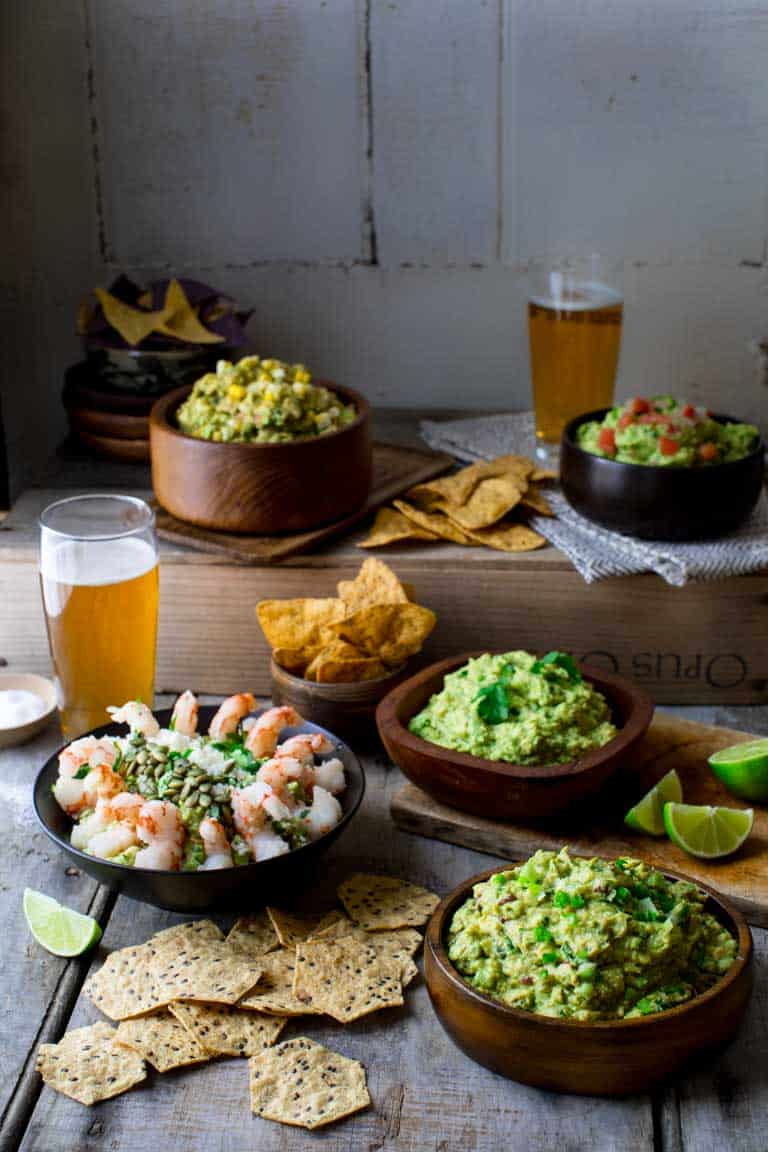 How to Make Guacamole 5 Ways on Healthy Seasonal Recipes #superbowl #cincodemayo #guacamole #glutenfree #appetizer #partyfood