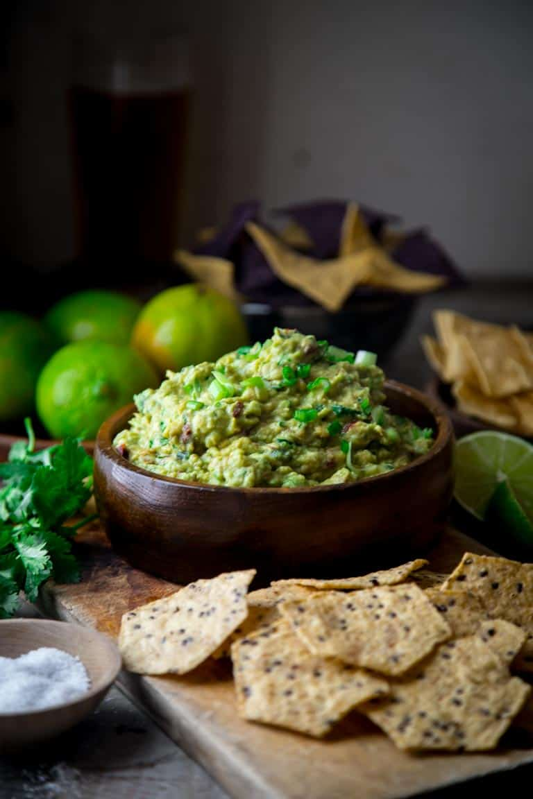 Chipotle Scallion Guacamole on Healthy Seasonal Recipes #superbowl #cincodemayo #guacamole. How to make guacamole 5 ways!