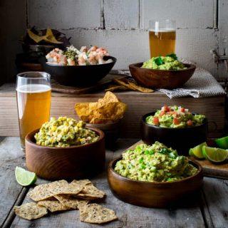 Guacamole 5 ways on Healthy Seasonal Recipes. Classic guacamole, Chunky Pico de Gallo guacamole, Chipotle and Scallion Guacamole, Bacon and Corn Guacamole and Shrimp Cocktail Guacamole. #glutenfree #appetizer #superbowl #cincodemay