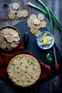 This spicy Healthier Hot Crab Dip is a fantastic (healthy) appetizer to share for game day! | Healthy Seasonal Recipes | Katie Webster | #glutenfree #appetizer #superbowl