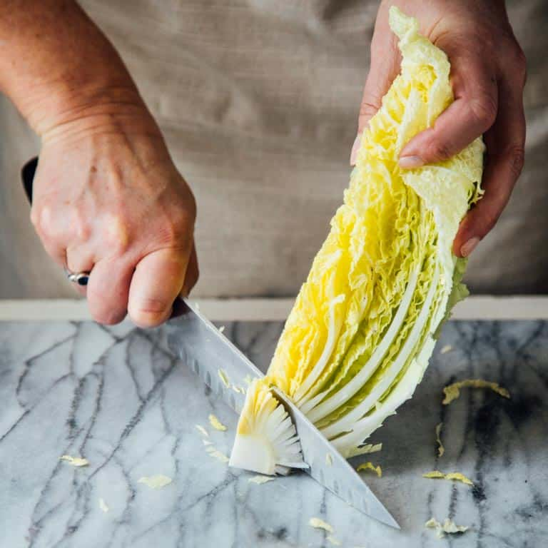 Remove core from Napa cabbage