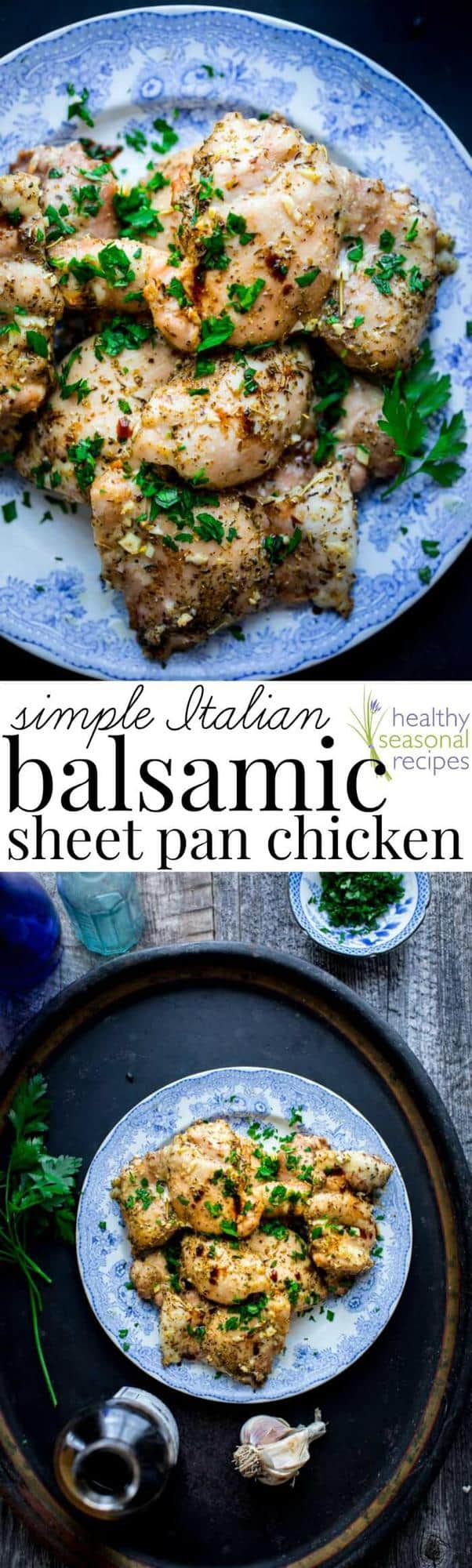 Chicken thighs on a blue plate and text