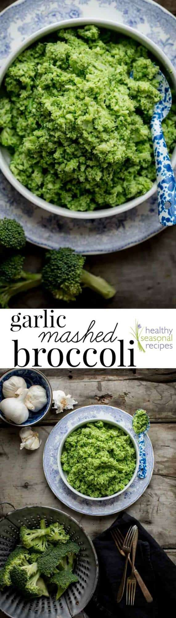 A bowl of mashed broccoli with text