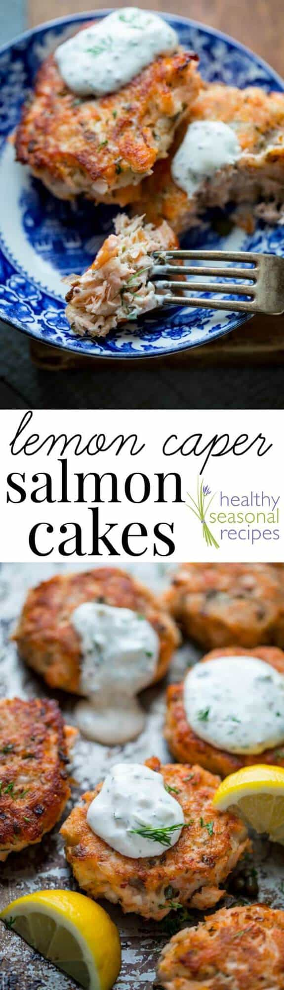Turn left-over cooked salmon into elegant crispy salmon cakes with lemon zest, capers and light tartar sauce made with Greek yogurt. They\'re ready in less than a half hour! #salmoncakes #salmon #healthy #dinner