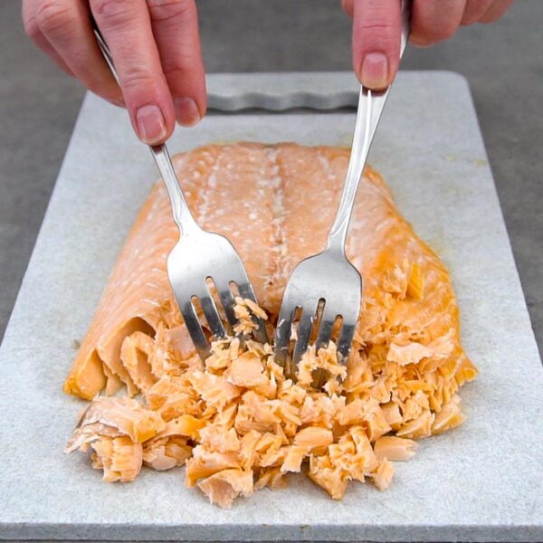 Flake salmon, and discard any skin or bones.