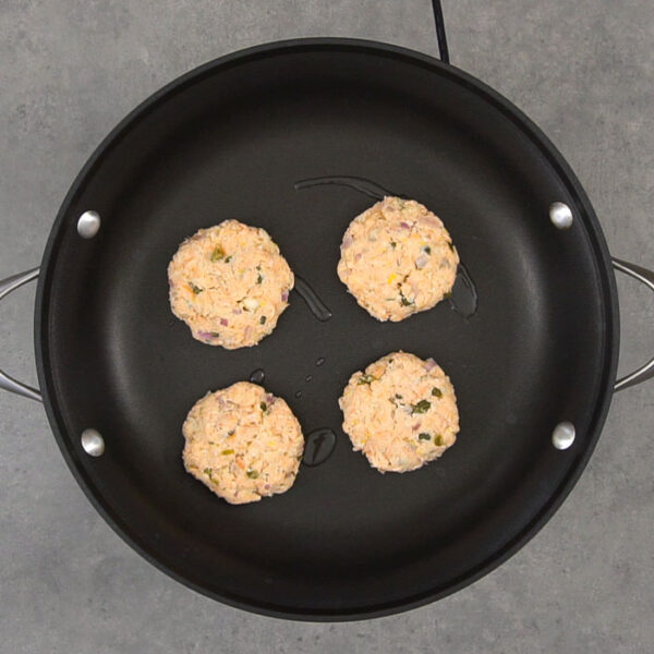 Form into patties and brown in a non-stick skillet with oil.