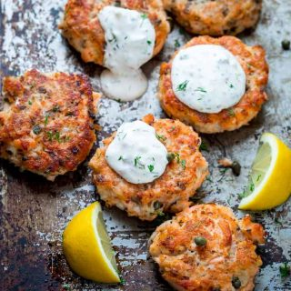 Lemon Caper Salmon Cakes with Light Tartar Sauce