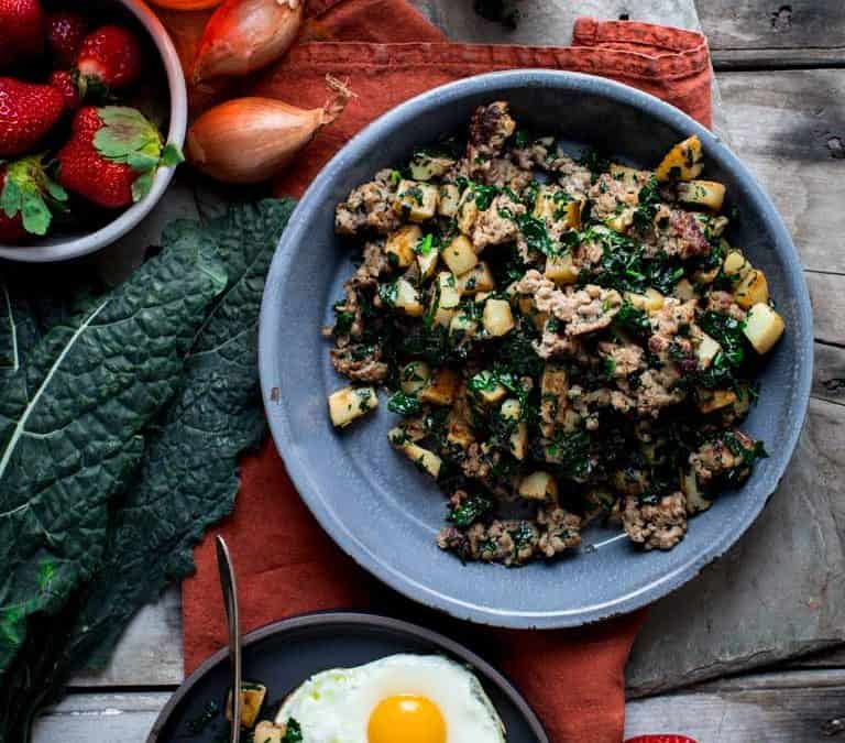 maple, potato and sausage breakfast skillet with kale
