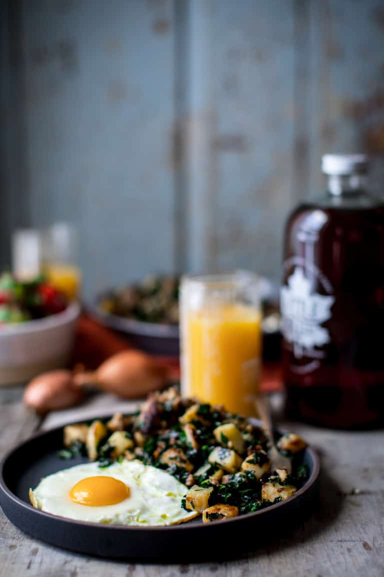 Maple Potato Sausage Breakfast Skillet with Kale on Healthy Seasonal Recipes @healthyseasonal #glutenfree #grainfree #breakfast #maplesyrup