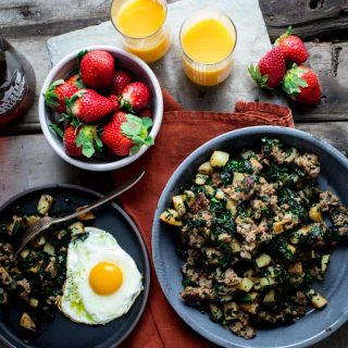 Maple Potato Sausage Breakfast Skillet with Kale on Healthy Seasonal Recipes @healthyseasonal #glutenfree #grainfree #breakfast #maplesyrup