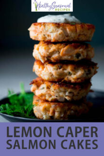 stack of lemon caper salmon cakes